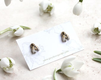 Snowdrop Earrings, Spring Flower Studs, Imbolc Jewelry, Tiny Snowdrops, Botanical Earrings, Snow Drop Posts, Candlemas Jewellery, Snowdrops