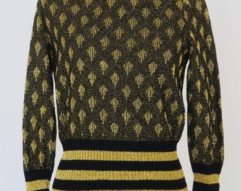 Vintage 70's Sweater  Black and Gold Metallic Jumper By Goldworm Sizs S