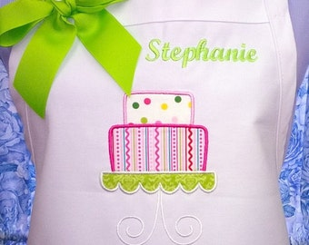 Personalized Twill Apron with Tiered Cake Applique
