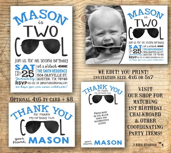 Im two lets party shirt birthday invitation Two cool birthday