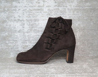 Vtg Brown Nubuck Leather Suede Laceup Boots