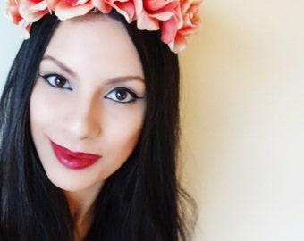 PEACH Floral Crown, Flower Crown, Boho Headband, Floral Crown, Boho Accessories