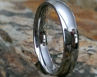 Stainless Steel 3mm & 4mm Classic Dome Style Comfort Fit Mens / Womans Personalized Wedding Ring Promise Ring AZ139