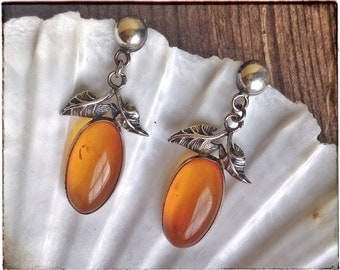BALTIC AMBER earrings, silver leaf earrings, botanical earrings, silver dangle earrings, yellow earrings
