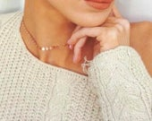 Rose Gold Coin Choker Necklace, Gold Filled Dotted Choker, Sterling Silver Coin Tattoo Choker, Bohemian Choker Necklace, Modern Choker
