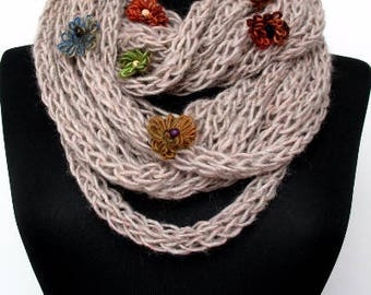 Scarf necklace, Flowers Infinity scarf, Soft Merino Scarf, Loop scarf, Neck warmer, Hand knitted scarf, in beige E218