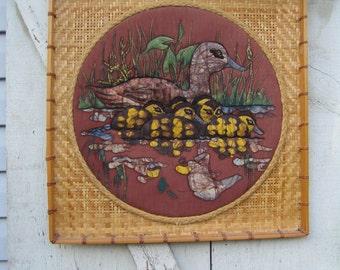 "Wicker and Batik-Style Fabric Mamma Duck & Ducklings 20"" Wall Art"