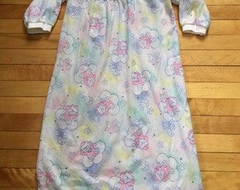 Vintage 1980s Girls Fleece Teddy Bear Nightgown! Size 4-5