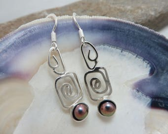 Earrings in sterling silver with beads purple copper