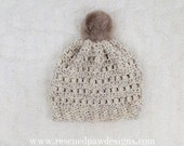 Crochet Pattern - Puff Stitch Beanie Hat, Crochet Hat Pattern, One Size, Womens Crochet Beanie Hat Pattern, Crochet Pom Pom Hat Pattern