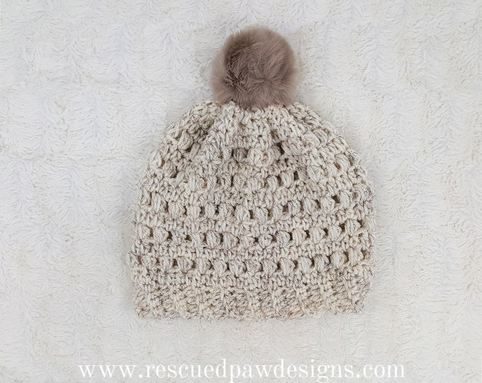 PDF Crochet Pattern - Puff Stitch Beanie Hat
