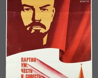 1986 Lenin Poster Soviet Union Russia USSR Propaganda Poster 23 x 35 Vintage