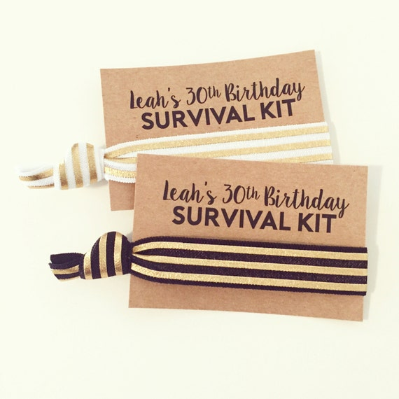Gold Foil Hair Tie Favors | Birthday Hair Tie Favors, 21st + 30th Birthday Party Favors, Adult Party Favors, Modern Black White Gold Stripes