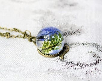 snake necklace moss jewelry forest necklace blue green jewelry terrarium necklace moss necklace witch necklace statement necklace gift Рю194