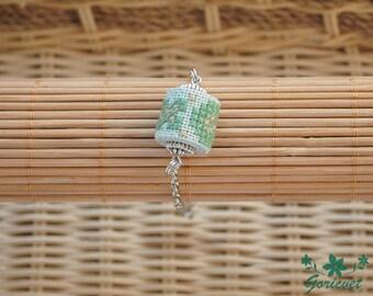 Gift for her gift for girlfriend Simple bracelet everyday bracelet green mint jewelry bracelet chain embroidered jewelry simple jewelry gift