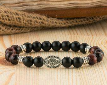 Mens gift mens jewelry mens bracelet boyfriend gift ethnic bracelet beaded bracelet him celtic bracelet black onyx bracelet mens healing