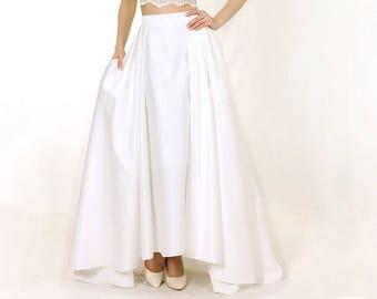 Elegant White Wedding Skirt,  Long bridal skirt, Bridal separates, Bridal skirt