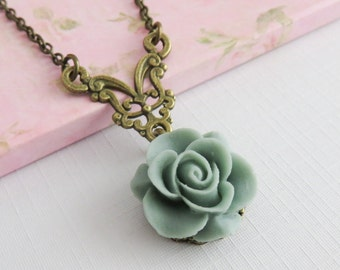 Grey Rose Necklace, Flower Pendants, Gray Floral Jewelry, Bridesmaids Gift, Country Wedding Jewelry, Women, Rustic Wedding Jewelry