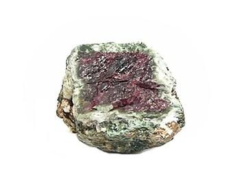 Watermelon Ruby gem crystal in Clinochlore Green Mica, Genuine Raw Red Gemstone Crystal, Mineral Corundum, July Birthstone
