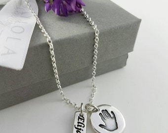 Handprint necklace   pure silver   baby/child's actual print   name tag   sterling silver chain   forever keepsake