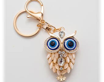 Cute Owl Crystal Key Chain