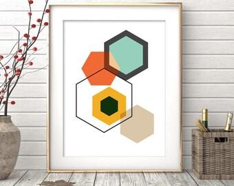 Instant download, Printable Art, Geometric Art, Hexagon Print, Geometric Print, Scandinavian Art, Wall Decor, Abstract Art Print