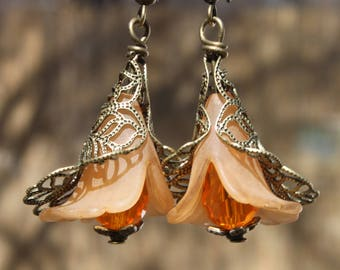 Orange Earrings Dangle Drop Earrings Flower Earrings Lucite Earrings jewelry Birthday  Gift for her Gift for women Gift