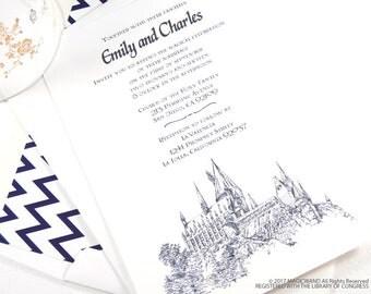 Harry Potter Wedding Invitation, Hogwarts Castle Invite (Sold In Sets Of 10  Invitations,
