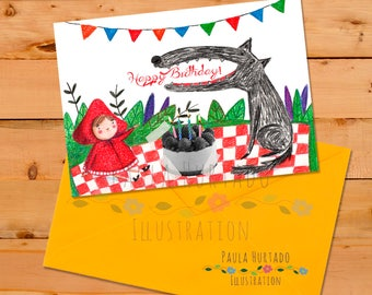 Happy Birthday Card Little Red Riding Hood printable