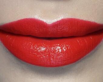 Damsel - Bright Red Vegan Lipstick, vegan, vegan makeup, vegan lipstick, bright red lipstick, classic red lipstick, potions cosmetics