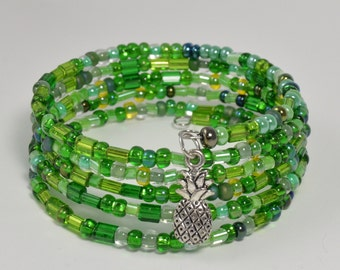 Green  Memory wire Bracelet with pineapple charm