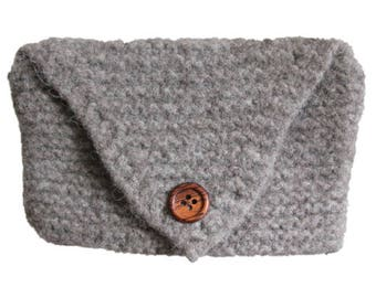 Gray Knit HandBag Clutch / Wooden Button Gray Purse
