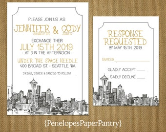 Seattle wedding invitations Etsy