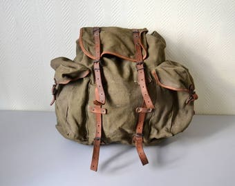Vintage French Rucksack LAFUMA made in France / scout Backpack / french army hiking bag 50s 60s