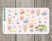 25 Easter Bunny Stickers / Erin Condren Planner Stickers / Journal Stickers