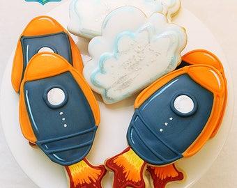 Space Rocket & Cloud Cookies (1 Dozen)