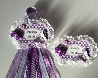 Purple butterfly baby shower corsage set/Lavender and purple butterfly baby shower corsage set/Mommy and daddy to be corsage set/