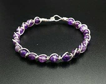 Amethyst gemstone bangle bracelet, wire wrapped bracelet, wire wrap bracelet, beaded bracelet, wire jewelry, purple bracelet, birthstone