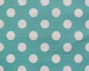 Set of 2 pcs 3-ply ''Polka Dots Blue'' paper napkins for Decoupage or collectibles 33x33cm, Pattern napkins, Servietten, Scrapbooking paper