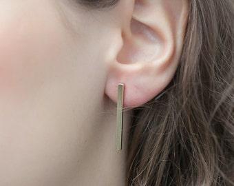 Long Bar Earrings - Gold Fill- Dangle Stud Earings - Square Lines - Bar Stud Earrings - Stick Earrings - Line Studs - Line Earrings
