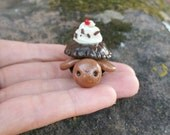 Chocolate Turtle With Whipped Cream, Chocolate Chunks And Cherry On Top