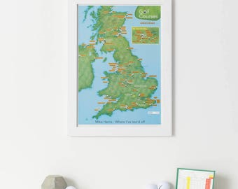 Scratch Off UK Golf Courses Print - gift, gift for him, gift for her, personalised, home decor, free shipping, scratch, wall map, golf map