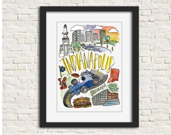 Indianapolis, IN City Watercolor Illustration Wall Art Print // 8x10