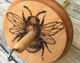 Busy Bee - Hand Burned Dotwork Drop Spindle