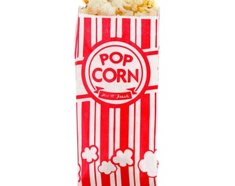 25 Retro Popcorn Bags/Paper Popcorn Bags/Popcorn Bags/Bags/Take Out Bags/Concession Bags