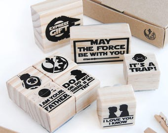 STAR WARS STATIONERY stamp set, Birthday party Star Wars, star wars birthday favors, star wars birthday, May the force be with you star wars
