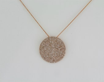1.23ct - Round Diamonds 14K Rose Gold Round Diamonds Medium Disc Pendant - CUSTOM MADE