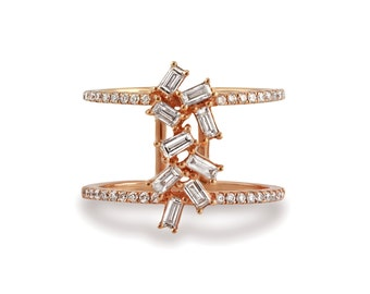 0.83ct Prong-Micro Pave' Diamond 14K Rose Gold Cluster Diamond Baguette Ring - CUSTOM MADE