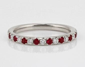 0.47tcw Pavé Round Ruby & Diamond in 14K White Gold Half Eternity Band  - CUSTOM MADE
