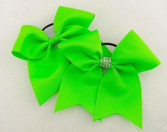 Softball Bows/Neon Green Softball Hair Bows/Neon Green Cheer Bows/Neon Green Soccer Bows/Neon Green Volleyball Bows